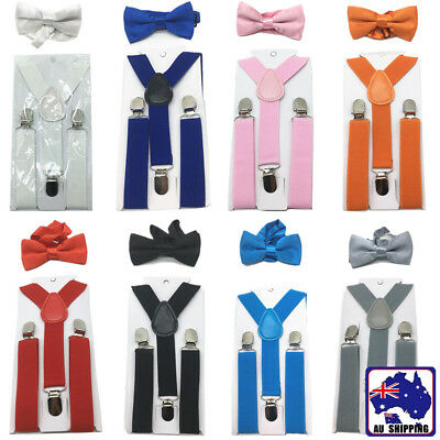 Kids Boys Girls Costume Elastic Suspender And Bow Tie Sets CSUS935