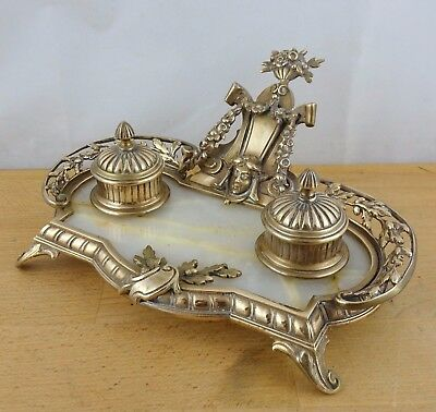 Antique Victorian French Rococo Double Brass Inkwell, Carpe Diem Depose