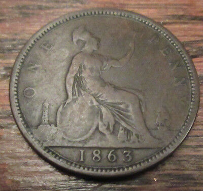1863 UK Great Britain British One 1 Penny Victoria Civil War Era Coin F