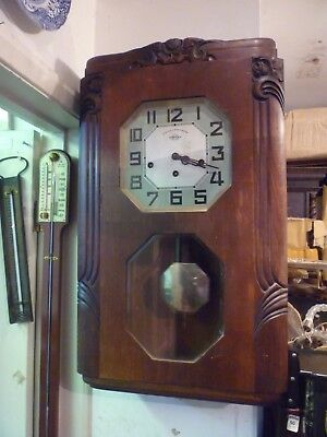 Rare Girod Veritable Westminst Art Deco 2 Chime Wall Clock Full Working Order
