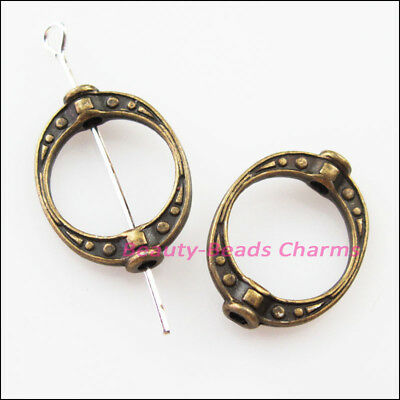 8Pcs Antiqued Bronze Tone Oval Dots Spacer Frame Beads Charms 14.5x19.5mm