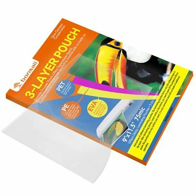 """100 PACK Thermal Laminating Pouches Sheet 9x11.5"""" 3 Mil Thick for Photos Artwork"""