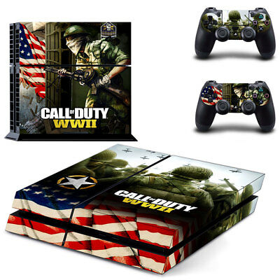 Sony PS4 Playstation 4 Console Skin Sticker New Call Of Duty WW2 +2 Controllers
