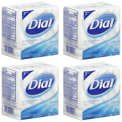 (PACK OF 12 BARS) Dial Classic WHITE Antibacterial Bar Soap. Round the Clock