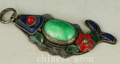 Asian Chinese Old Silver Handmade Inlay Jade Flower Collect Statue Pendant RR231