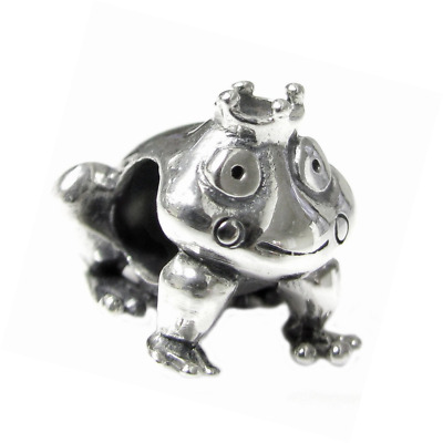 Sterling Silver Fairy Frog Prince with Crown European Style Bead Charm