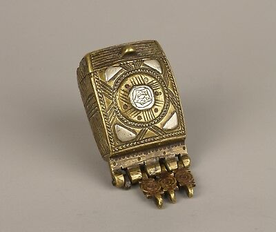 A 19th Century Ottoman White Metal Overlaid Brass Grease Box.
