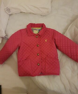Joules girls coat pink age 2-3 years excellent condition
