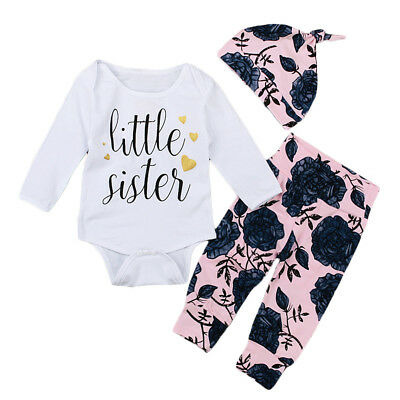 Newborn Baby Girl Cotton Printed Romper Tops Long Pants Hat 3pcs Outfits Clothes