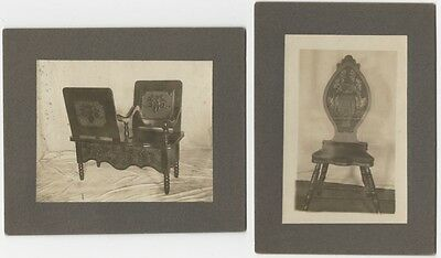 Two c.1900 Mounted Silver Gelatin Prints of European Art Nouveau Carved Chairs