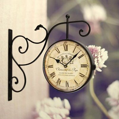 Wrought Iron Wall Decor Hanging Clock Vintage European Antique Style Classic