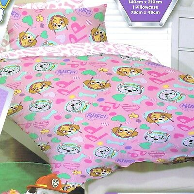 Paw Patrol - Ruff Ruff Pink - Single/US Twin Bed Quilt Doona Duvet Cover set