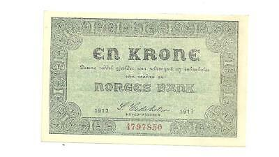 Norway  1 Krone 1917 P- 13      aUNC (light vertical fold)