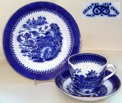 """""""Foley China"""" Robinson & Son: 'Mandarin' Willow Pattern Trio (Cup/Saucer/Plate)"""
