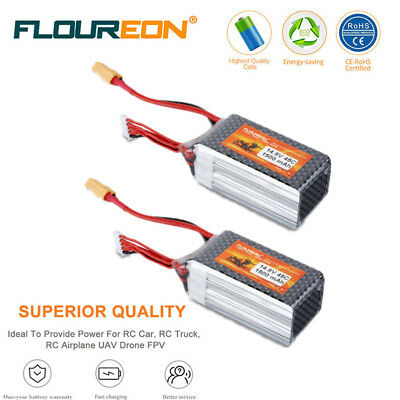 2x 4S 14.8V 1500mAh 45C LiPo Battery For RC Airplane Cars Truck helicopter Drone