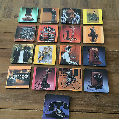 Set of 17 Vintage Bell Telephone Operator Drink Coasters from 1878 to 1930 Era