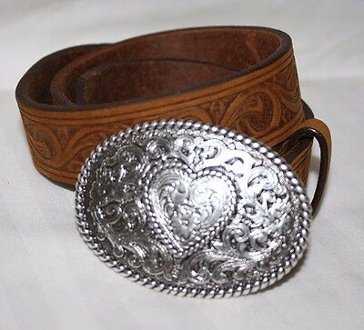 New Justin Brown Western Embossed Cowhide Leather Child Belt - Sz 24 Girls