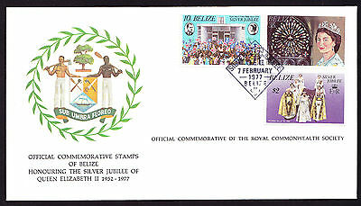 Belize stamps on Coat of Arms QE2 QEII Royal cover 1977 Silver Jubilee FDC FDI