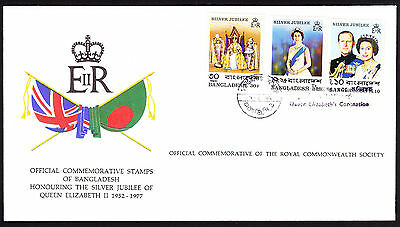 Bangladesh stamps on Flags cachet QE2 Royal cover 1977 Silver Jubilee FDC FDI