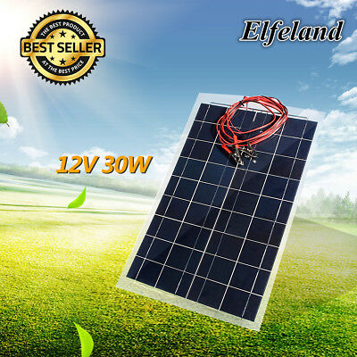 Elfeland 30W 12V Semi Flexible Solar Panel Battery Charger Off Grid + 4m Cable