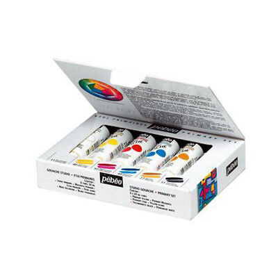 Pebeo Studio Gouache Opaque Watercolour Paint Primary Colour Set 6 x 20ml Tubes