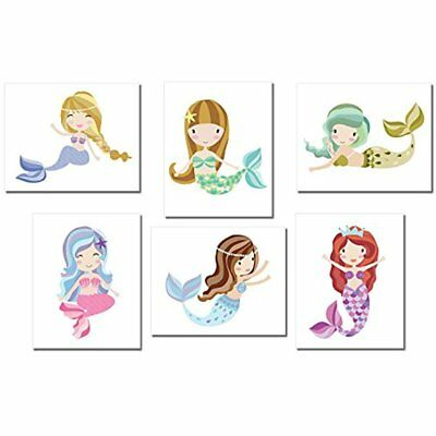 Mermaid Wall Art Prints Cute Gift Idea For Any Baby Nursery 8X10 White