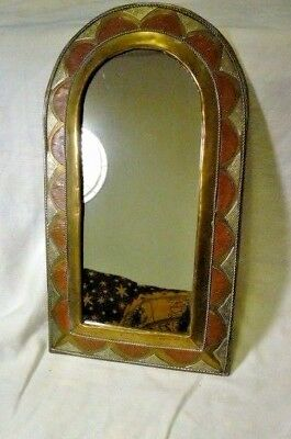 Vintage Wall Mirror Copper Brass Tin Arts and Crafts Handmade Rustic Retro