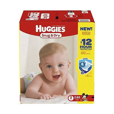 SEALED BOX! FREE SHIPPING! Huggies Snug & Dry Diapers, Size 2, 246 Count