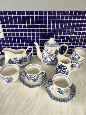 J&G Meakin Royal Staffordshire Tea Set Gravy Boat Cups Saucers Willow Ironstone