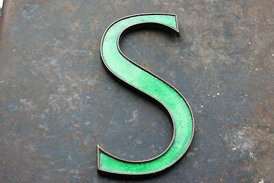 "LETTER- S- EARLY C20th VINTAGE 9"" BRASS/ENAMEL SHOP ADVERT ALPHABET DISPLAY SIGN"
