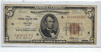 Series Of 1929 Federal Reserve Bank Of Dallas Tx. $5 Brown Seal Nat. Curr. Note