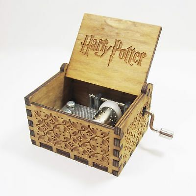 Harry Potter Engraved Wooden Hand Crank Music Box Interesting Toys Xmas Gifts
