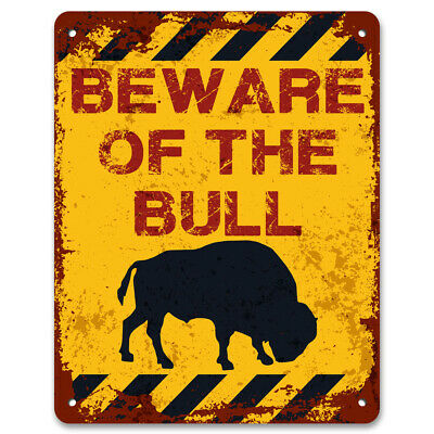 Beware Of The Bull | Vintage Metal Garden Warning Sign | Keep Out No Trespassing