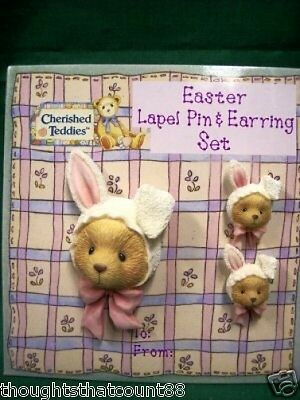 Cherished Teddies EASTER BUNNY PIN /EARRINGS SET 156574 FREE FIRST CLASS SHIP