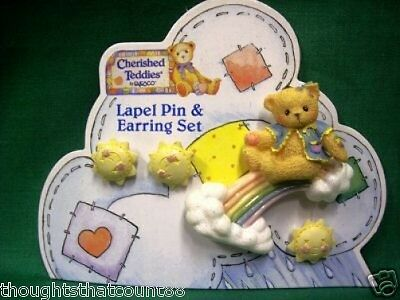 Cherished Teddies RAINBOW PIN & EARRINGS SET 310425 * FREE1ST CLASS USA SHIPPING