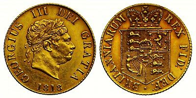 1818 George Iii Gold Half Sovereign; Extremely Rare Example