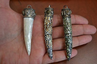 3 Pcs Assort Mother Of Pearl Shell Agate Stone Brass Caps Pendant #p-213