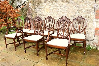 8 Vintage English Georgian Hepplewhite Style Mahogany Dining Chairs inc 2 Carver