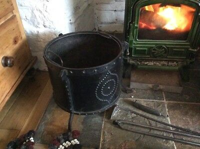 Arts And Crafts Goberg Wrought Iron Log Bin Basket Scuttle Coal Bin