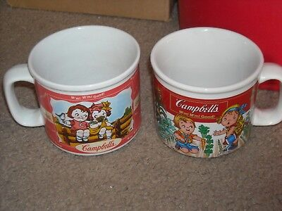 Lot of 2 Vintage Campbell Soup Coffee Mugs Cups