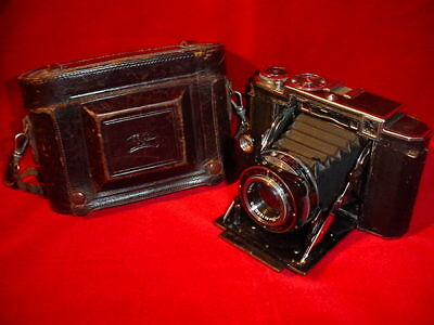Vintage Zeiss Super Ikonta Folding Camera with Leather Case