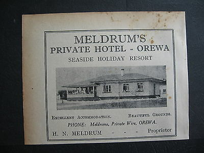 Meldrum's Hotel Orewa New Zealand H N Meldrum 1938