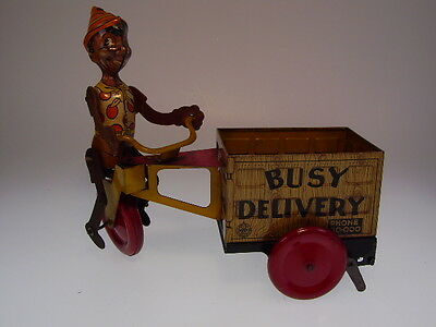 "GSCOM ""BLACK PINOCCHIO BUSY DELIVERY"" MARX 1930s, 24cm, WUP OK, VERY GOOD !"