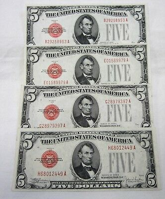 (4) Series 1928, '28B, '28C, '28E $5 United States Notes Fr #1525 1527 1528 1530