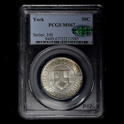 1936 50C York Commemorative Silver Half Dollar Pcgs Ms67 Cac Priced To Sell!!