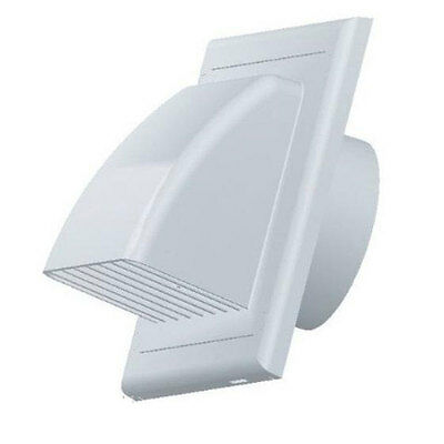 White Air Vent Grille Gravity Flap External Ducting Ventilation Cover 100mm 4""