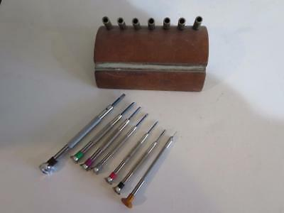 Set Of France Watchmakers Jewelers Screwdrivers With Stand & Sharpening Stone
