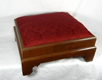 Antique Victorian Footstool Walnut w/Red Damask Upholstery c. 1880-1900