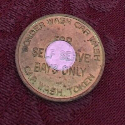 RARE SILVER CENTER! 1980-90's Wonder Wash Car Wash Token Self Service Bays Only