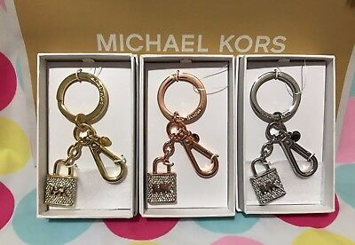 NEW MICHAEL KORS CLEAR KEY CHARMS PAVE LOCK & KEY FOB RING Gold/Rosegold/Silver